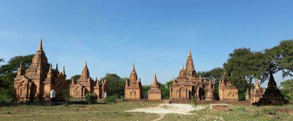 A neighborhood of stupas in Bagan