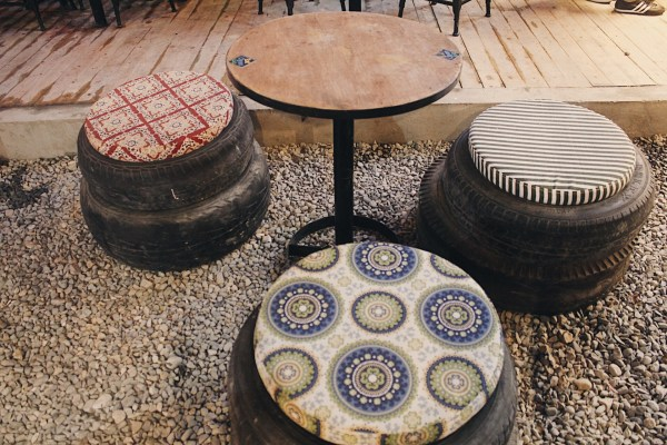 Old tires turned into furniture.