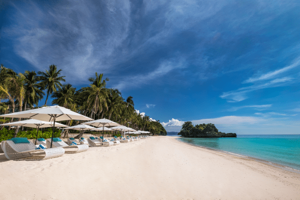 The beach of Mövenpick Boracay. The resort boasts a 200 meter private beach, the longest single stretch of beach in the island.