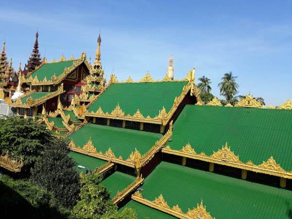 Emerald-colored roof of the entrance gate of Shwedagon Pagoda