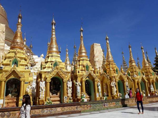 Even the small stupas in Shwedagon Pagoda are gold plated