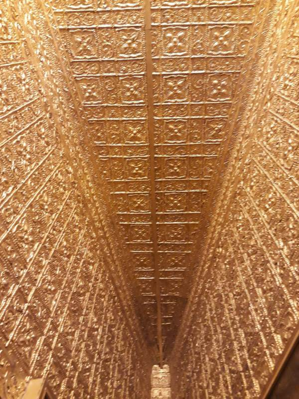 Gold-plated ceiling and walls in Botataung Pagoda in Yangon.