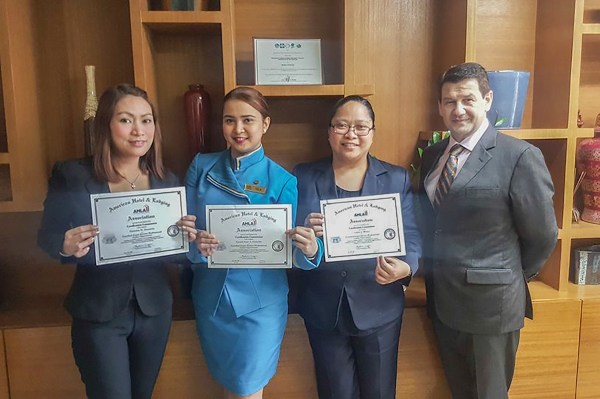 Three Waterfront Manila Pavilion Hotel peers are now AHLEI Certified Professionals