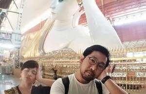 Sonny and I in Chauk Htat Gyi Pagoda in Yangon