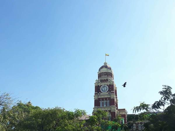 The iconic clock of the British colonial architecture High Court Building
