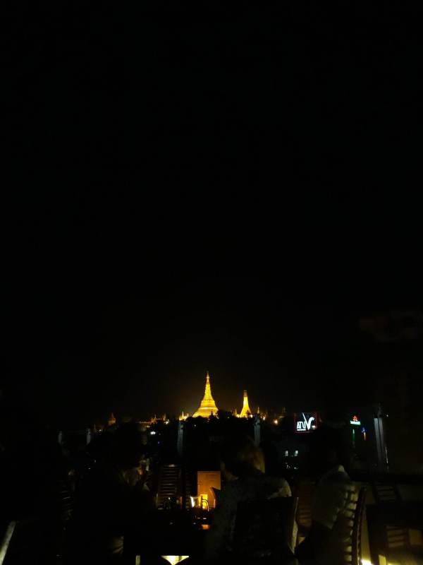 Vista Bar in Yangon where you can have a good view of Shwedagon Pagoda at night with a couple of Myanmar's local beer.