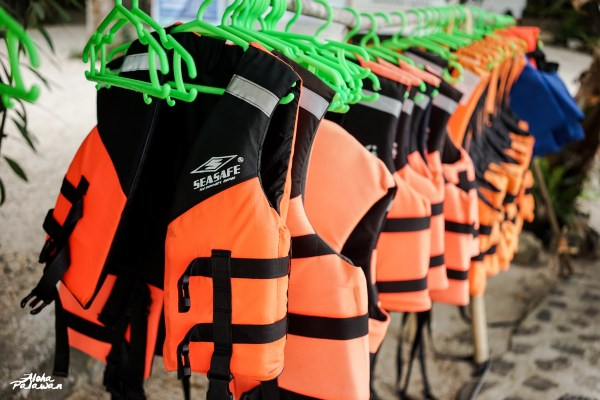 There resort has provided some life vest before guests can experience the inflatable island.