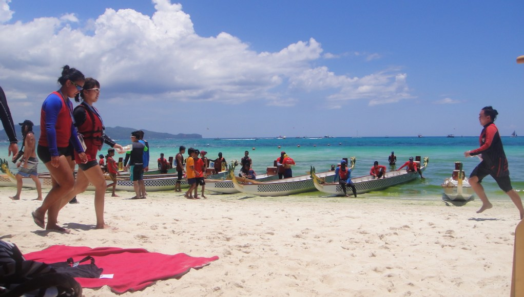 Dragon boats ready for the annual Boracay International Dragon Boat Festival