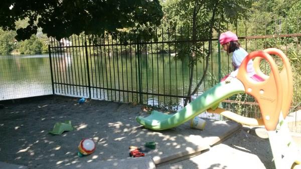 Fun at Il Cigno's open playground