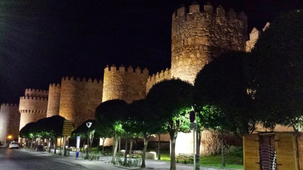 Lighted city walls of Avila Spain