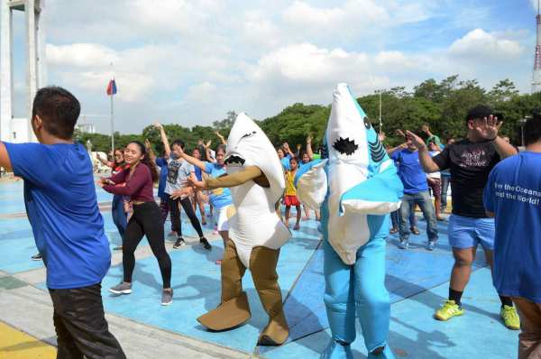 "Shark mascots danced to the tune of ""Under the Sea"" during a flashmob for the Philippine Rise. The Philippine Rise is an important habitat for marine wildlife, including sharks and rays. ©Oceana"