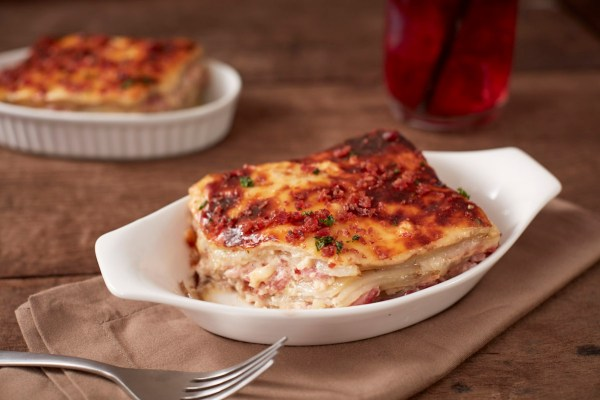 Potato Gratin with Ham and Bacon