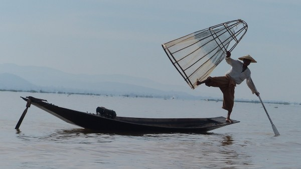 Fishermen of Inle Lake who fish while standing on one leg
