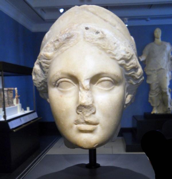Head of Athena inside Getty Villa