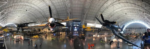 Panorama of the interior of the Smithsonian National Air and Space Museum.