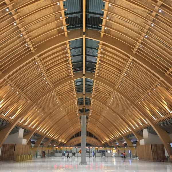 Glulam ceiling elements and ceilings made of timber at Mactan Cebu International Airport Terminal 2