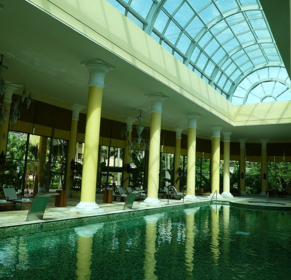 The spa pool with retractable glass roof