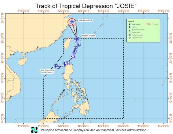 Track of Tropical Depression Josie