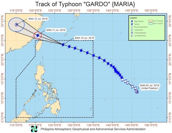 Typhoon Gardo Image via PAGASA