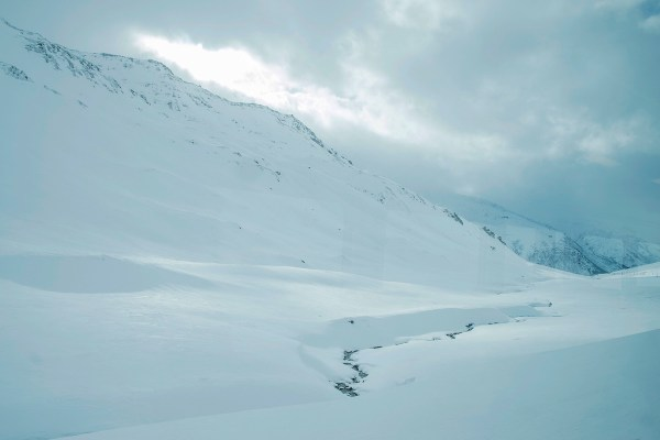 Almost whiteout in the Oberalp Pass.