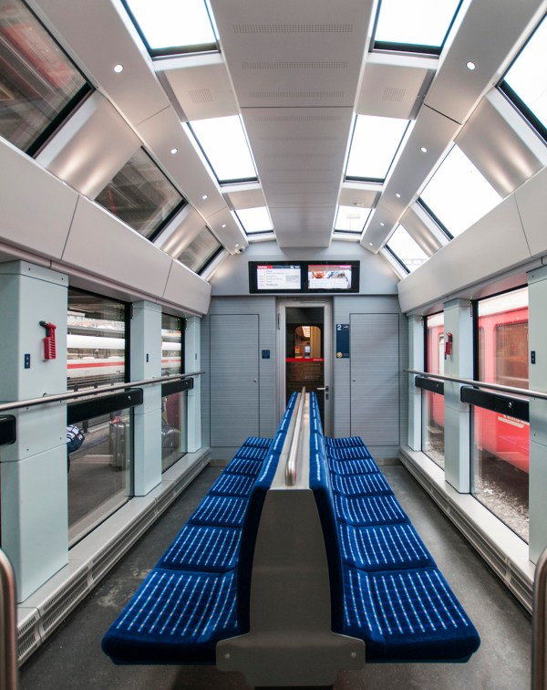 Brand-new panoramic coach on the Zurich-St. Moritz express train.
