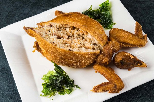 Deep-fried Boneless Chicken Stuffed with Glutinous rice, Dried Shrimps and Black Mushrooms