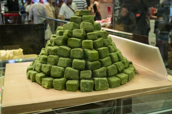 Green tea candy for sale at the Nishiki market