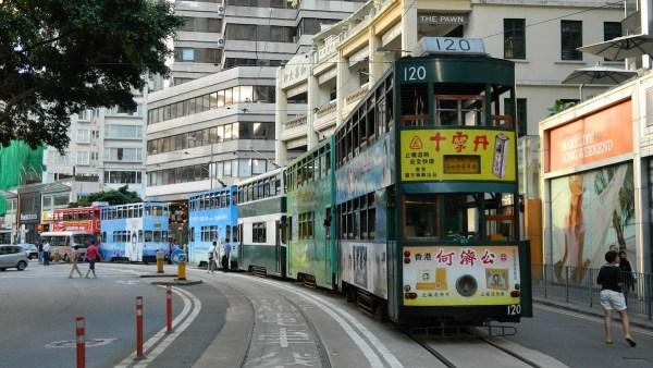 Hong Kong double-deck trams