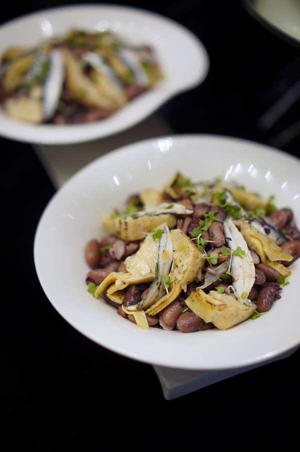 Marinated Grilled Artichoke Hearts with Borlotti Beans and Anchovies in Olive Dressing
