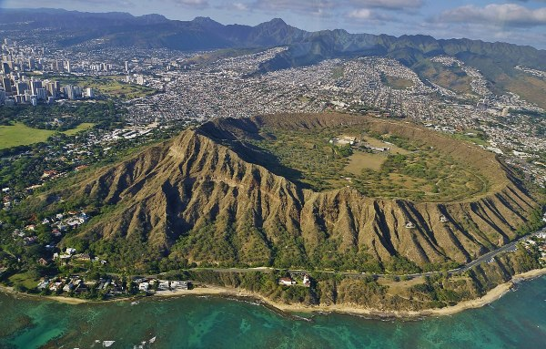 Aerial view of the Diamond Head by Eric Tessmer via Wikipedia CC
