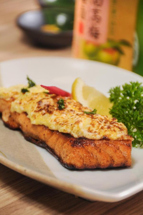 As a yakimono option, grilled salmon is given a delicious twist.