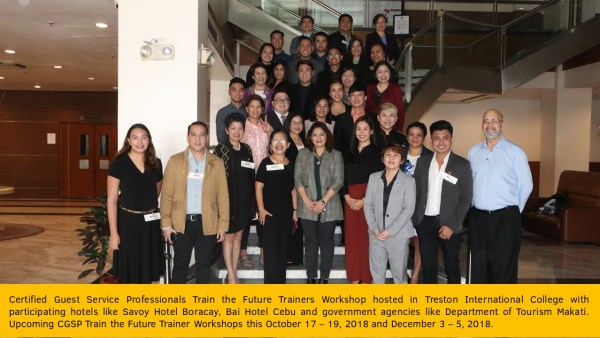 Certified Guest Service Professionals Train the Future Trainers Workshop hosted in Treston International College with participating hotels