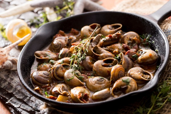 Spanish Snails Stew, in the region's distinctive 'vizcaina' sauce made of red onions and choricero pepper puree.