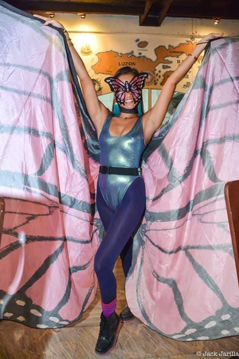 Butterfly Lady at Dos Mestizos Halloween Party. Photo by Jack Jarilla