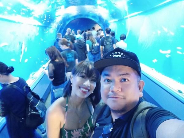 Photo inside the Osaka Aquarium Tunnel