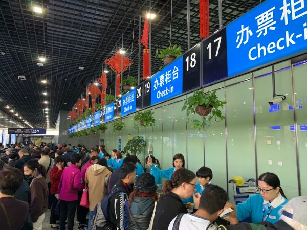 Royal Caribbean Check-in counter in Shanghai