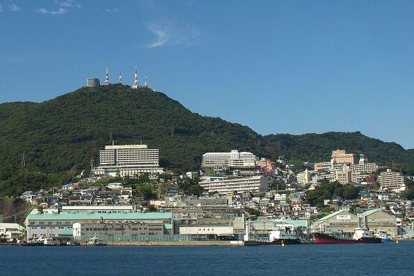 View of Mount Inasa from Nagasaki Harbor photo via Wikipedia CC