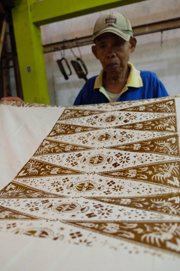 Batik Fabric after wax application