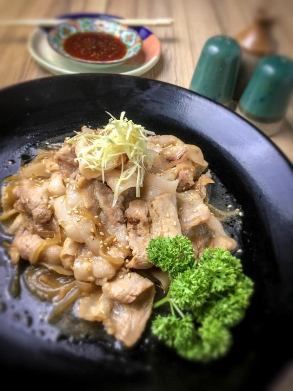 This delectable pork dish is perfectly seasoned with gentle zing of ginger.