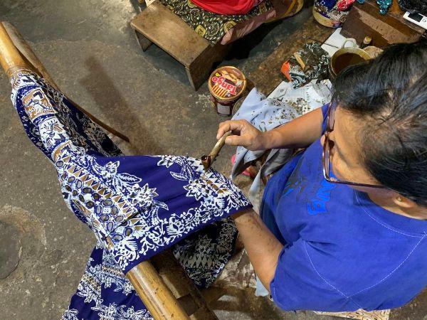 Wax Application in Batik Factory
