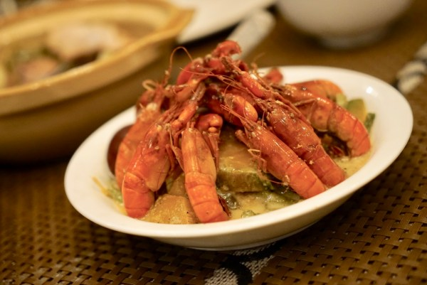 Ginataang Kalabasa with baby lobsters