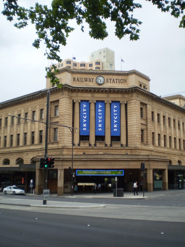 Adelaide Railway Station photo by Normangerman via Wikipedia CC