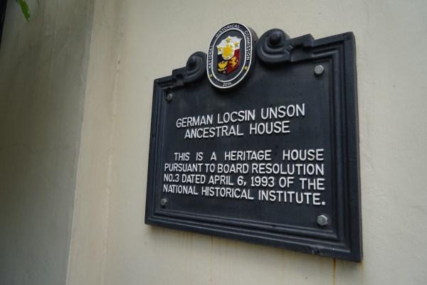 German Locsin Unson Anscestral House National Historical Commission Marker