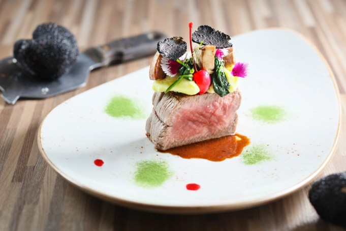 Black Angus Beef Tenderloin with Pan-seared Duck Liver, Cherry and Black Truffle Sauce