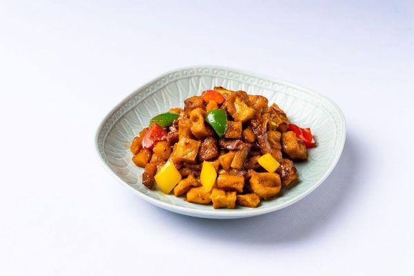 Chiu Chow Marinated Diced Pork and Bell Pepper