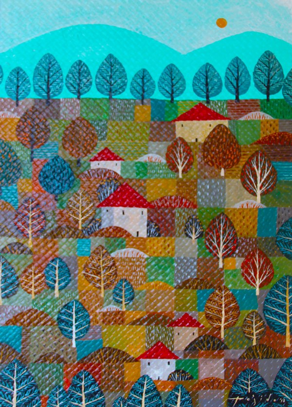 "Hacienda by Joemike Tejido, 24"" x 36"", acrylic on treated hand-woven mat"