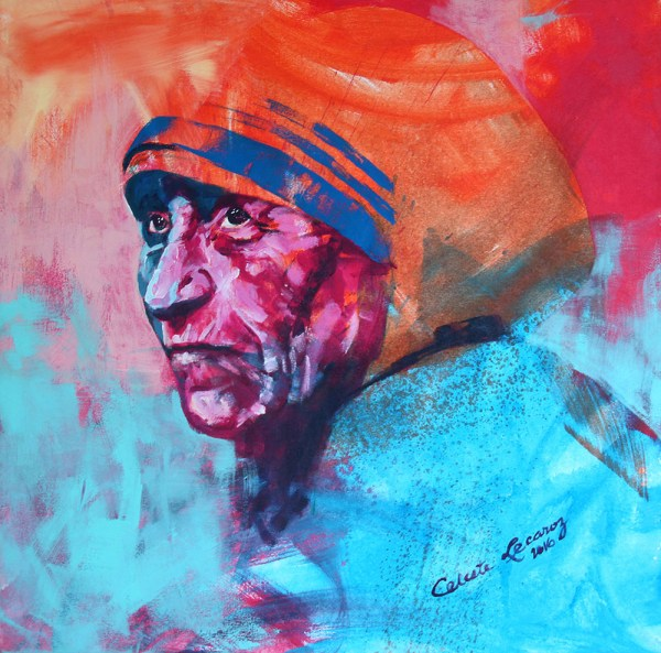 """Mother Theresa in Spontanrealismus by Lecaroz, 36"""" x 36"""", acrylic on canvas"""