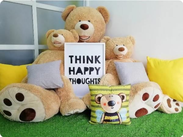 Sunny and bright bedroom with bears