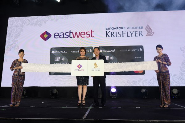 EastWest SEVP & Head of Consumer Lending Cluster Jacqueline Fernandez, Singapore Airlines VP Loyalty Marketing Ryan Pua at the seatbelt ceremony of the co-branded card
