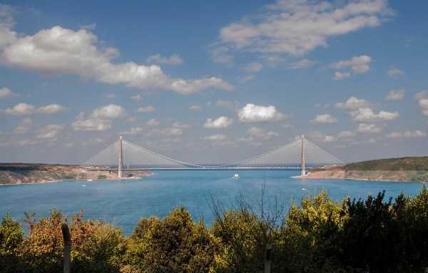 The entrance to the Black Sea where this new bridge connects the European (left) and Asian (right) landmasses.